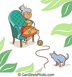 csinos, nagyanyó, karikatúra