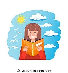 csinos, nevelési, fogalom, woman olvas, könyv