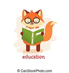 csinos, oktatás, concept., róka, book., olvas szemüveg