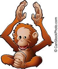 csinos, orangután, ábra, vektor