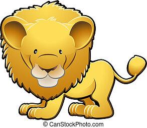 csinos, oroszlán, ábra, vektor