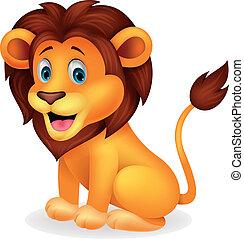 csinos, oroszlán, karikatúra