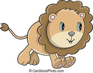 csinos, oroszlán, vektor, kölyök, állat