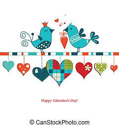 csinos, osztozás, szeret, valentines, madarak, tervezés, nap