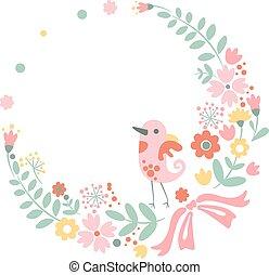 csinos, pasztell, szüret, befest, háttér, virágos, madár