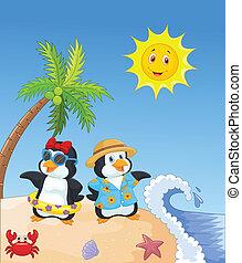 csinos, pingvin, karikatúra, holi, nyár