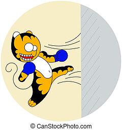 csinos, rajzóra, fal, fiatal, tiger, harcias, megüt, vektor, karikatúra