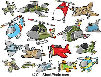 csinos, repülőgép, vektor, tervezés, állhatatos