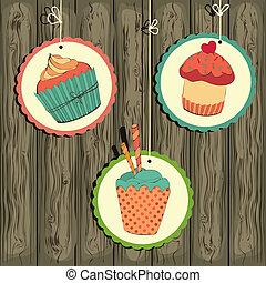 csinos, retro, húr, cupcake