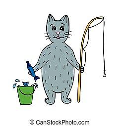 csinos, rod., fish, macska, hand-drawn, halász