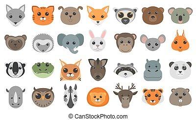 csinos, set., állatok, karikatúra, gazdag koncentrátum