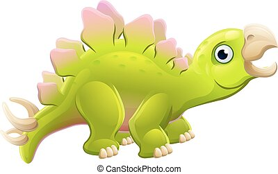 csinos, stegosaurus, karikatúra, dinoszaurusz