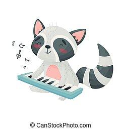 csinos, synthesizer., ábra, háttér., vektor, mosómedve, fehér