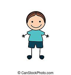 csinos, színes, fiú, kéz, rajz, ikon