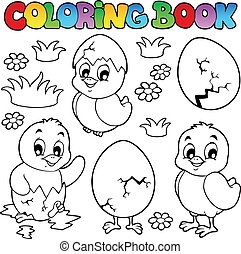 csinos, színezés, csibék, könyv