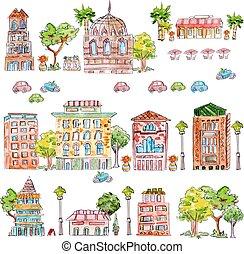csinos, szüret, épület, gyűjtés, vízfestmény, fa., festmény