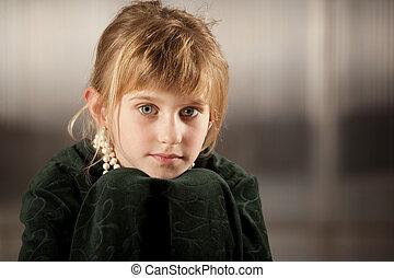 csinos, szemek, fiatal lány, nagy