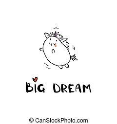 csinos, szlogen, kártya, felirat, nagy kezezés, unicorn., poszter, húzott, álmodik, kártya