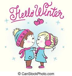 csinos, tél, párosít, szia, szerető