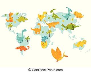 csinos, térkép, dinos., ábra, fényes, vektor, világ, karikatúra