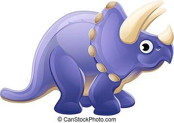 csinos, triceratops, karikatúra, dinoszaurusz