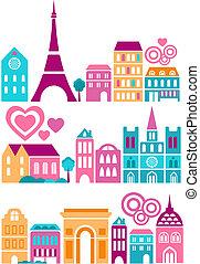csinos, városok, vektor, ábra, világ