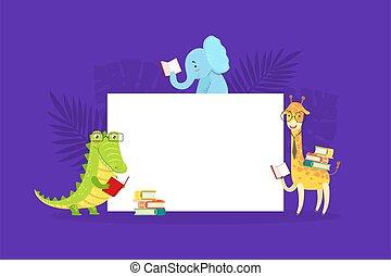 csinos, vad, bizottság, karikatúra, krokodil, afrikai, zsiráf, vektor, transzparens, felolvasás, ábra, elefánt, tiszta, előjegyez, aláír, állatok