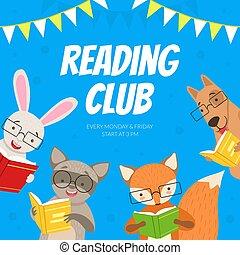 csinos, vad, könyvtár, karikatúra, vektor, ábra, közösség, klub, felolvasás, gyerekek, könyvesbolt, előjegyez, nevelési, tervezés, állatok