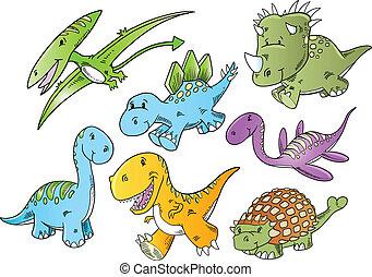 csinos, vektor, állat, dinoszaurusz