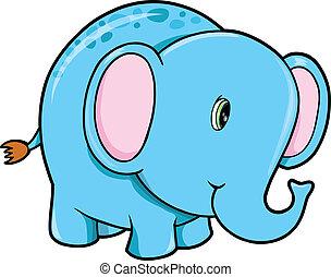 csinos, vektor, boldog, állat, elefánt