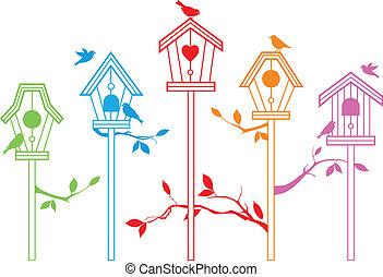 csinos, vektor, madár, épület