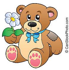 csinos, virág, hord, teddy-mackó