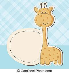 csinos, zápor, zsiráf, csecsemő lány, kártya
