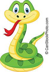 csinos, zöld kígyó, karikatúra