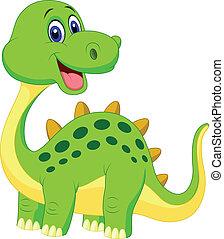 csinos, zöld, karikatúra, dinoszaurusz
