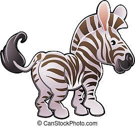 csinos, zebra, ábra, vektor