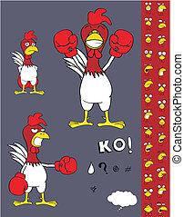 csirke, ökölvívás, karikatúra, set2