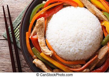csirke, food:, rizs, kilátás, növényi, tető, ázsiai