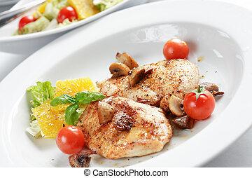 csirke, hússzelet, saláta