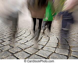csiszol, gyalogló, utcakő, emberek
