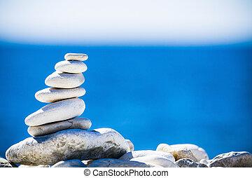 csiszol, hegyikristály, felett, kék, egyensúly, tenger asztag, croatia.