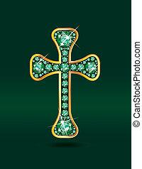 csiszol, keresztény, kereszt, smaragdzöld