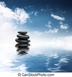 csiszol, víz, felett, zen