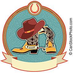 csizma, kalap, cowboy, címke