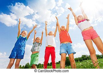 csodálatos, ugrás, öt, gyerekek, levegő