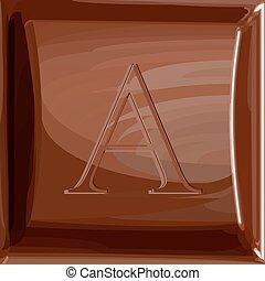 csokoládé, abc, egy, levél