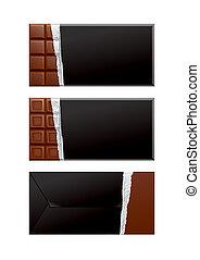 csokoládé, fekete, package., csomagolás, tiszta