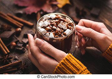 csokoládé, hatalom kezezés, csésze, csípős