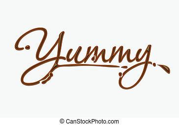 csokoládé, isteni finom, szöveg