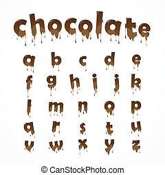 csokoládé, olvadt, abc
